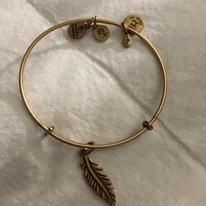 Alex and Ani Gold Feather Charm Bracelet Bangle